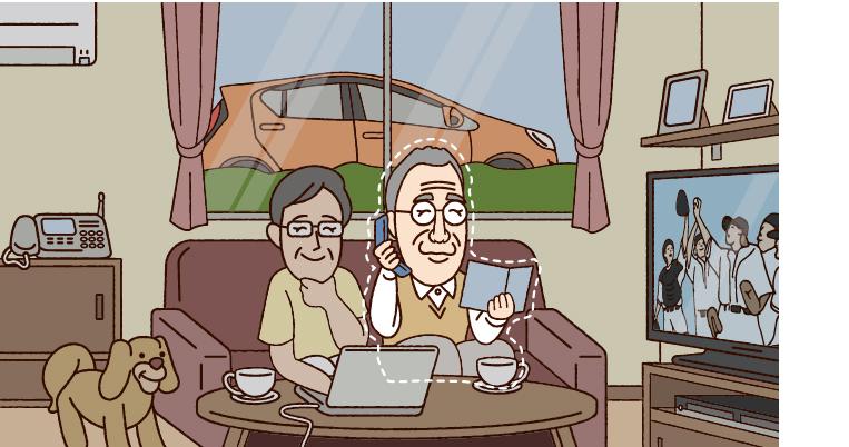 イラスト左から…妻58歳、本人60歳