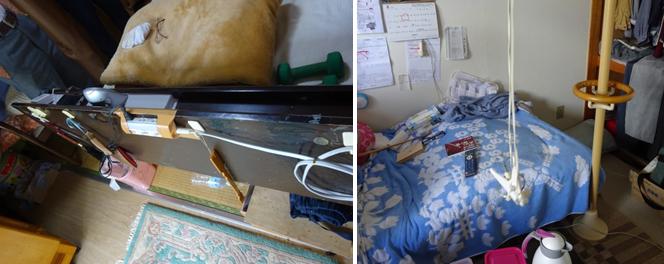ベッド周辺:ベッドから起き上がらず様々な操作がしやすいよう工夫されています