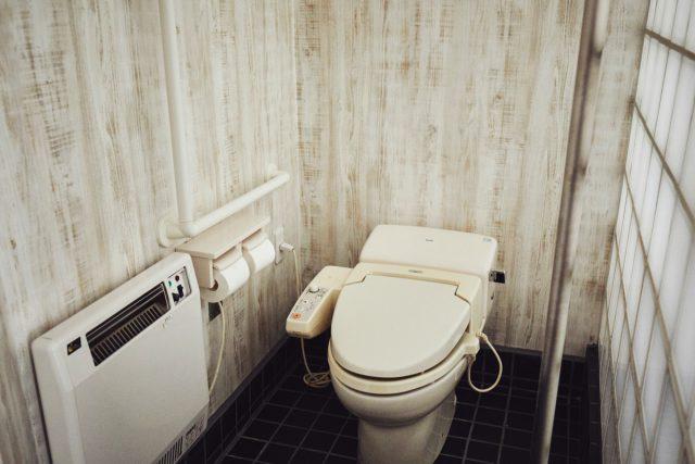 2種類の手すりがあるユニバーサルデザイン客室のトイレ