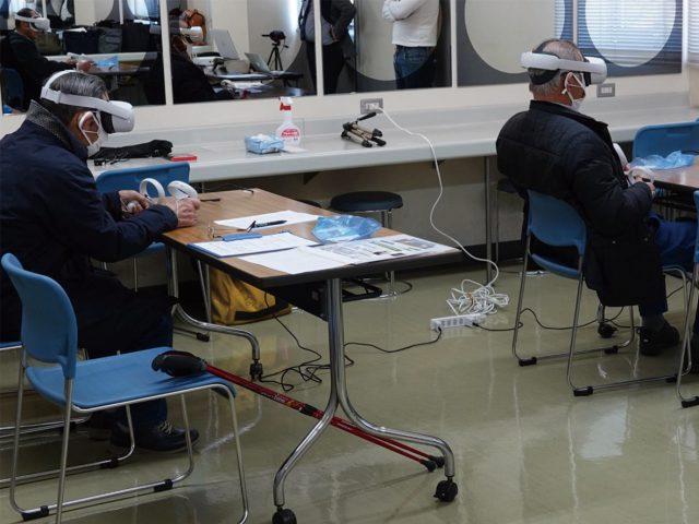 VR検査機器装着の様子